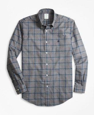 Brooks Brothers Milano Fit Windowpane Brushed Oxford Sport Shirt
