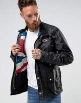 Barbour International Union Jack Waxed Jacket In Black