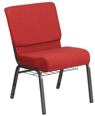 Ebern Designs MacArthur Guest Chair Seat Color: Crimson, Finish: Silvervein