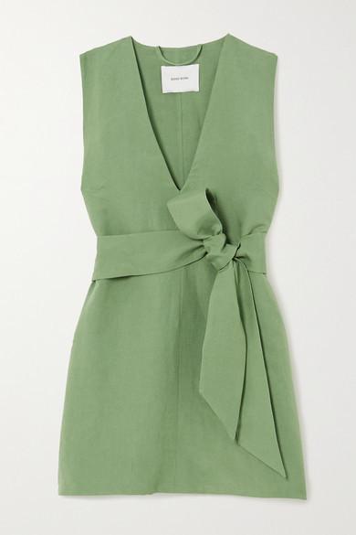 BONDI BORN + Net Sustain X Lg Electronics Belted Linen Mini Dress - Sage green