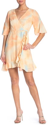 June & Hudson Elbow Length Sleeve Ruffle Wrap Dress