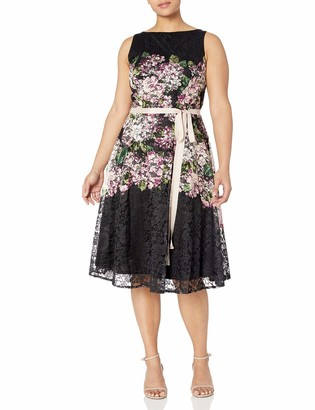 Gabby Skye Women's Plus Size Floral Print Lace Fit and Flare Belted Dress