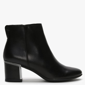 Df By Daniel Enthuse Black Leather Metal Trim Heeled Ankle Boots