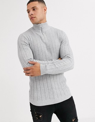 ASOS DESIGN muscle fit cable half zip jumper in light grey