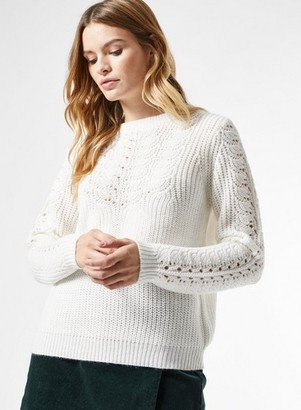 Dorothy Perkins Womens Ivory Pointelle Cable Jumper, Ivory