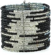 Panacea Wide Beaded Wire Cuff Bracelet, Black