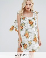 Asos Vintage Tropical Print Sundress With Tie Straps