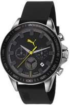 Puma Cyclone Chrono Unisex Quartz Watch with Black Dial Chronograph Display and Black PU Strap PU103621003