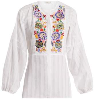 Etro Mira Floral-embroidered Blouse - Womens - White