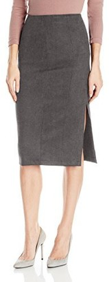 Level 99 Women's Connie Seamed Suede Midi Skirt