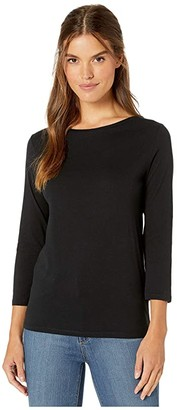Majestic Filatures Cotton Silk Touch 3/4 Sleeve Boat Neck Tee (Noir) Women's T Shirt