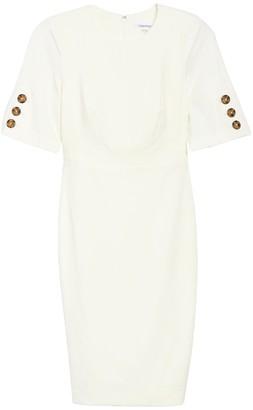Calvin Klein Jewel Neck Button Sleeve Sheath Dress