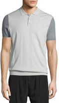 ATM Anthony Thomas Melillo Colorblock Knit Polo Shirt, Cement