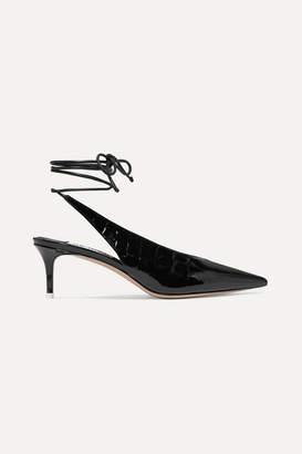 ATTICO The Caterina Croc-effect Patent-leather Pumps - Black