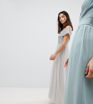 Bardot Maya Petite Sequin Top Tulle Detail Dress With High Low Hem-Gray