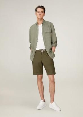 MANGO MAN - Elastic waist cotton Bermuda shorts khaki - 28 - Men