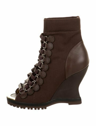 Chloé River Peep-Toe Ankle Boots w/ Tags Brown