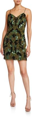Aidan Mattox Camo Sequin Sweetheart Mini Slip Dress