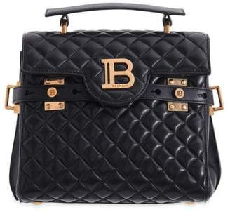 Balmain B-Buzz Quilted Leather Top Handle Bag