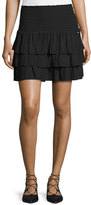 Ramy Brook Alison Smocked-Waist Tiered Mini Skirt, Black