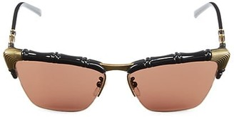 Gucci 58MM Bamboo-Effect Cat Eye Sunglasses