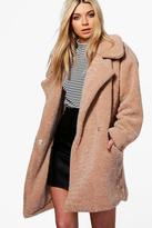 Boohoo Sarah Teddy Fur Oversized Camel Coat