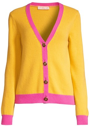 Tory Burch Contrast-Trim Cashmere Cardigan Sweater