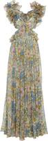 Zimmermann Cutout Floral-Print Ruffled Silk-Chiffon Gown