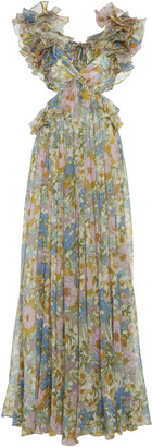 Zimmermann Cutout Floral-Print Ruffled Silk-Chiffon Maxi Dress