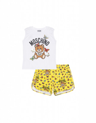 Moschino Butterflies Teddy Top And Shorts Set Woman White Size 4a It - (4y Us)