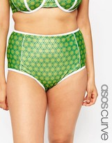 Asos Highwaist Bikini Bottom with Contrast and Support in Retro Floral Print