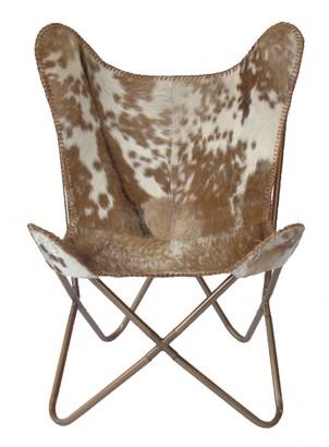 Nubuck Butterfly Chair Brown Splotch Hair On Hide