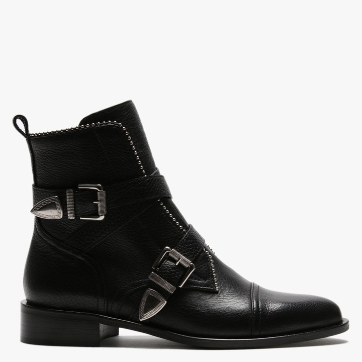 Daniel Endi Black Leather Biker Boots