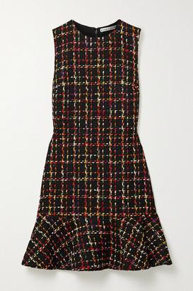 Alice + Olivia Sonny Ruffled Tweed Mini Dress - Black