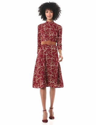 Donna Morgan Women's Stretch Crepe Status Printed Mock Neck Dress