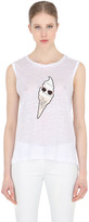 Karl Lagerfeld Ice Cream Printed Linen T-Shirt