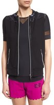 Monreal London Zip-Up Hooded Gilet Vest, Black