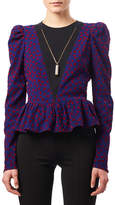 Altuzarra Pasqua Flocked Dot Peplum Top with Necklace, Red/Blue