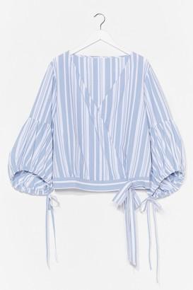 Nasty Gal Womens Plus Size Stripe Wrap Top - Blue - 22