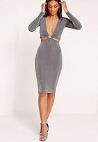 Missguided Long Sleeve Slinky Ring Detail Midi Dress Grey