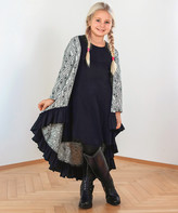 Rose And Pepper Rose and Pepper Girls' Cardigans Black - Black & White Triangle Ruffle-Accent Aria Cardigan - Girls