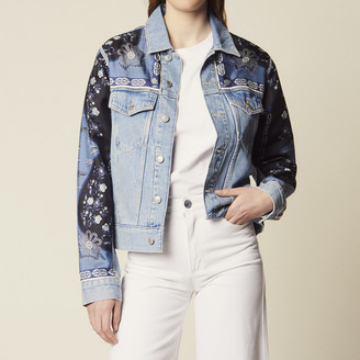 Sandro Denim Jacket With Printed Insets