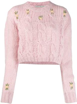Alessandra Rich cropped cable knit jumper