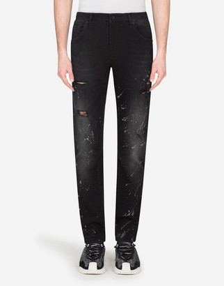 Dolce & Gabbana Slim-Fit Jeans With Color Splash Effect