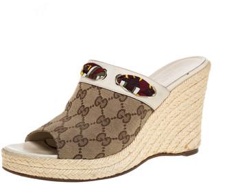 Gucci Beige GG Canvas Espadrille Wedge Peep Toe Slides Size 40