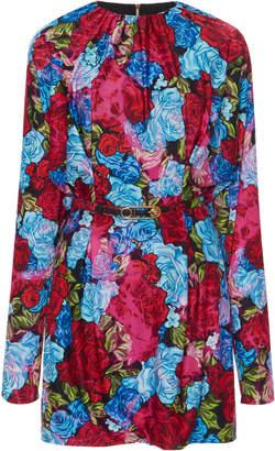 Versace Floral Crepe Mini Dress