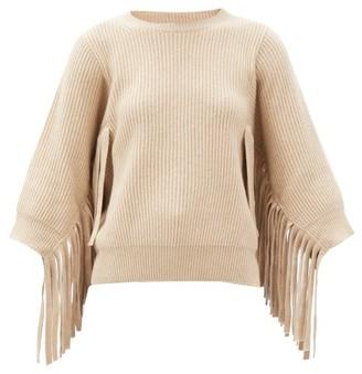 Stella McCartney Fringed Rib-knitted Cashmere-blend Sweater - Cream