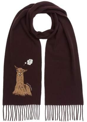 Acne Studios Vichi Animal-Embroidered Narrow Wool Scarf