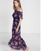 Express Smocked Off-the-shoulder Ruffle Maxi Dress