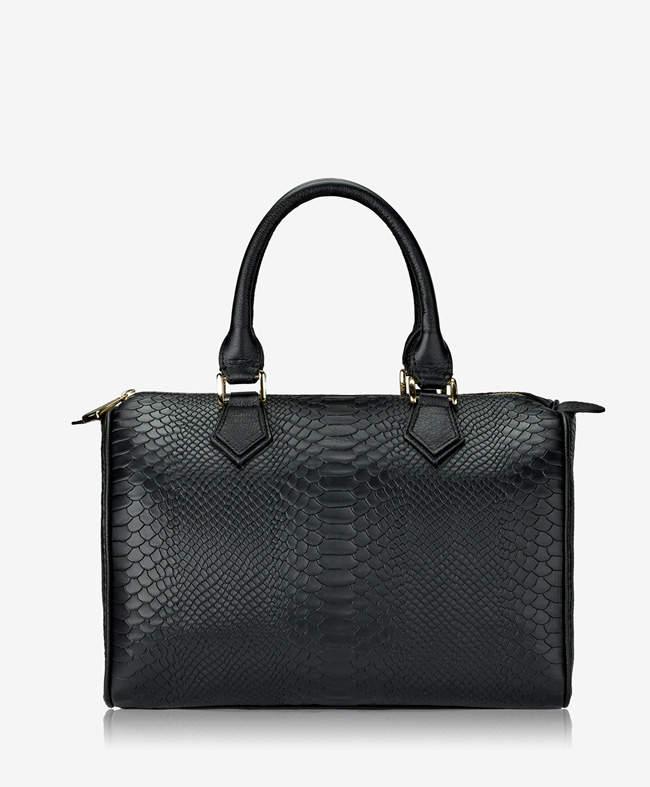 GiGi New York Brooke Barrel Bag Black Embossed Python